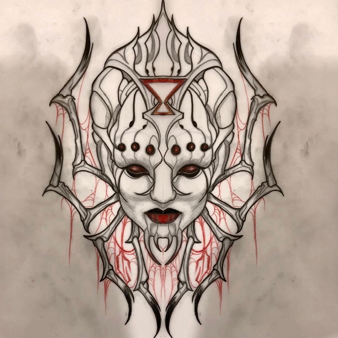 许先生暗黑系美女纹身手稿